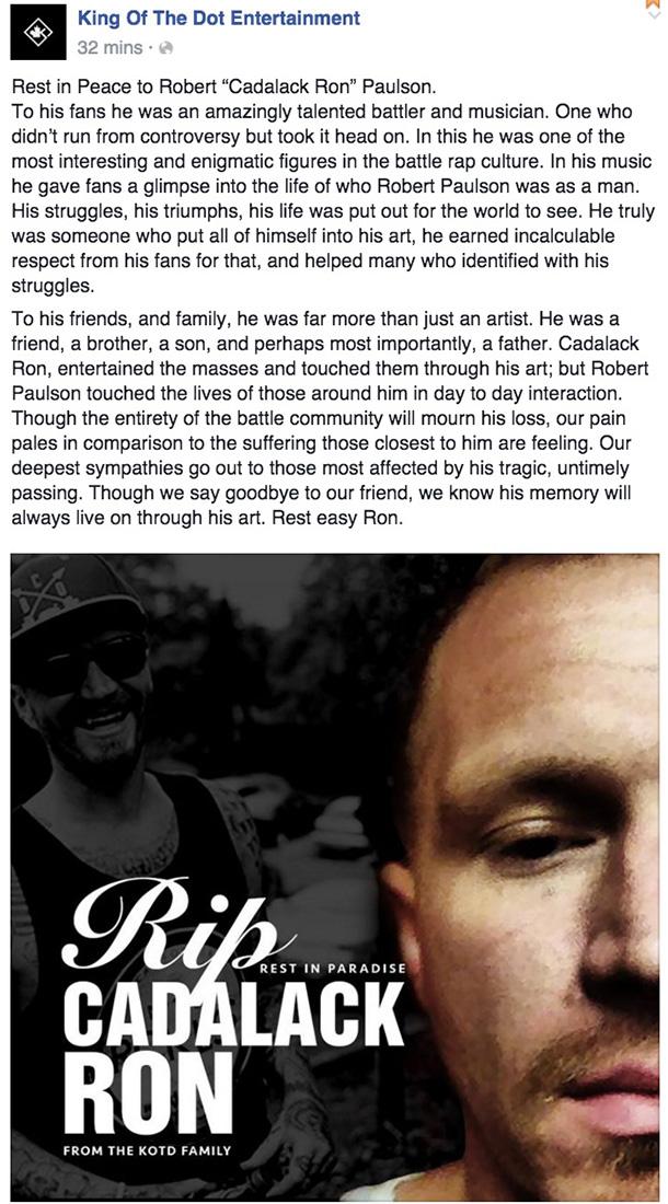 Cadalack Ron Has Died Battle Rap